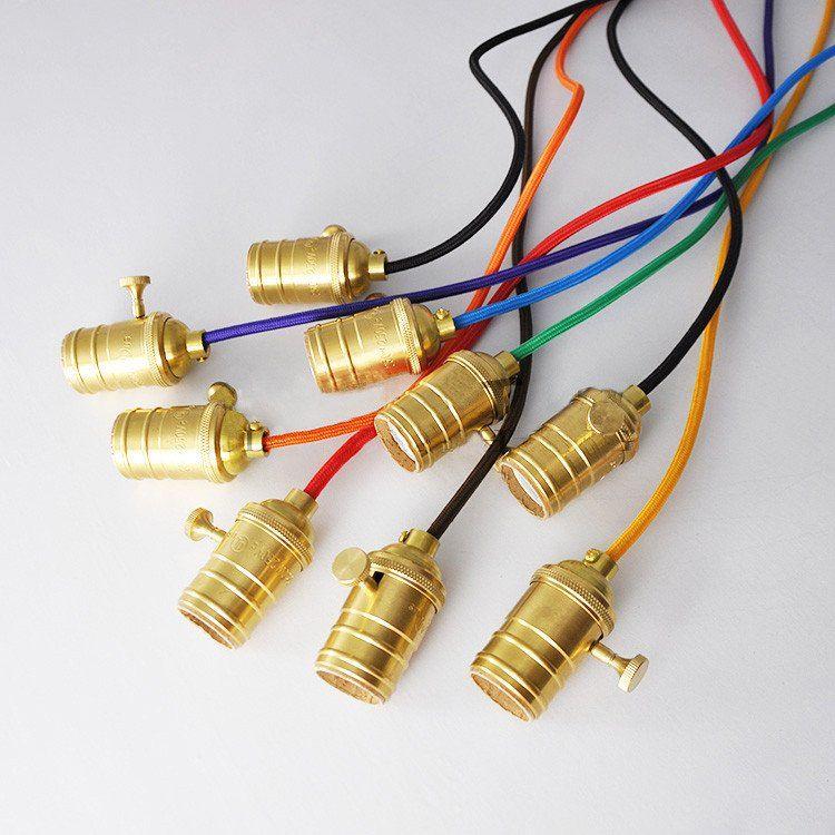 Edison gold switch fabric cord pendant light chandelier diy edison gold switch fabric cord pendant light chandelier mozeypictures Images