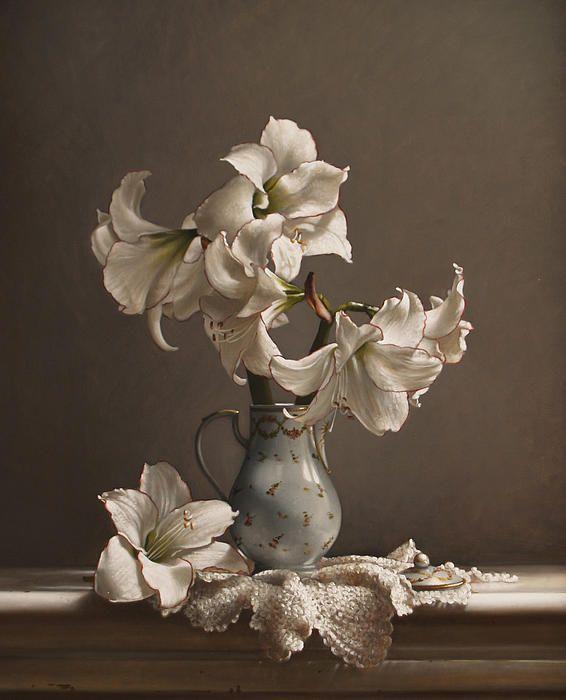 Amaryllis In A French Chocolate Pot By Lawrence Preston Flower Art Still Life Art Art