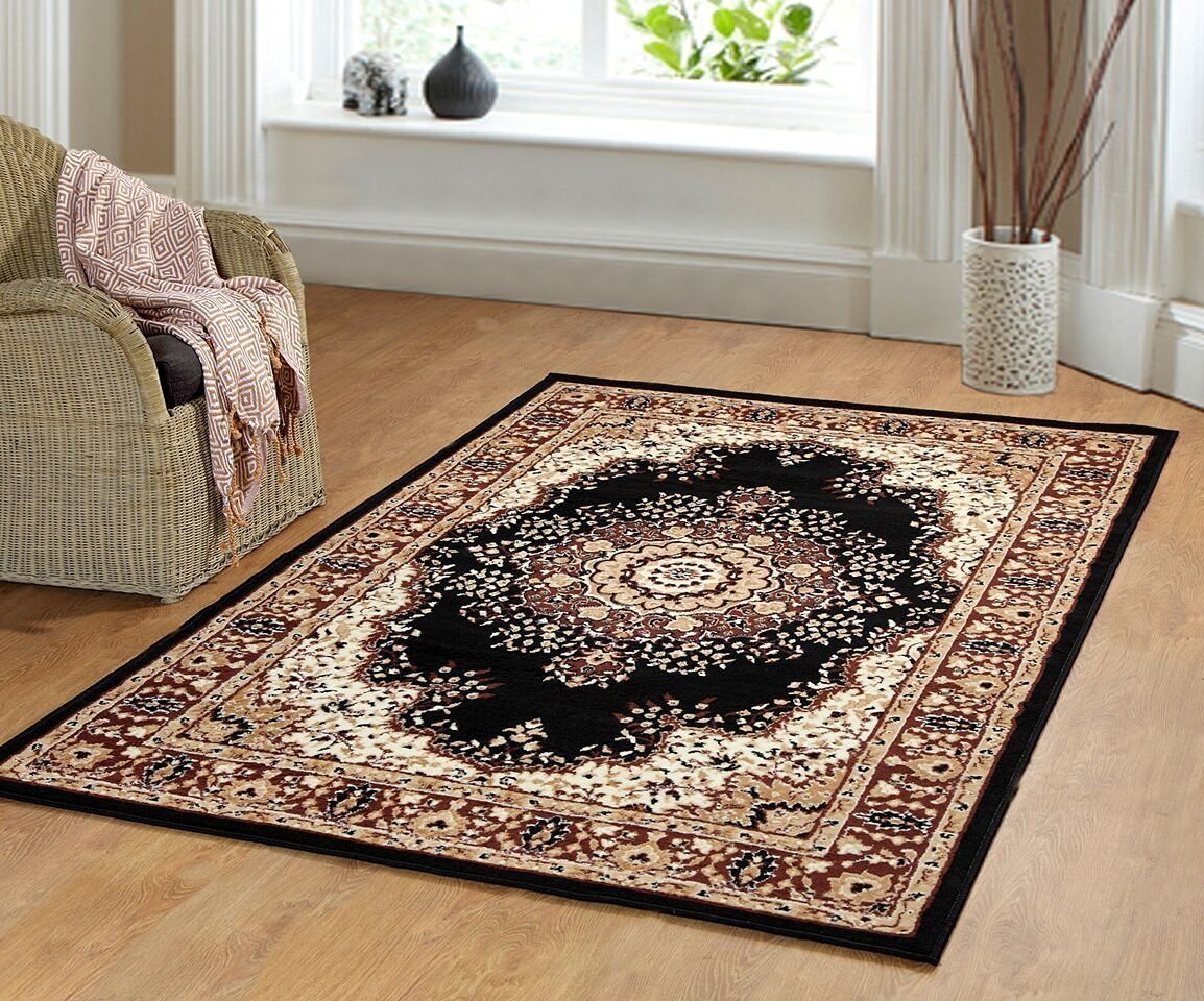 Traditional Oriental Medallion Area Rug Persian Style Carpet Black Maharaja 605 Furnishmyplace 4 X6 Amazon Ca Home Kitchen Style Carpet Area Rugs Rugs