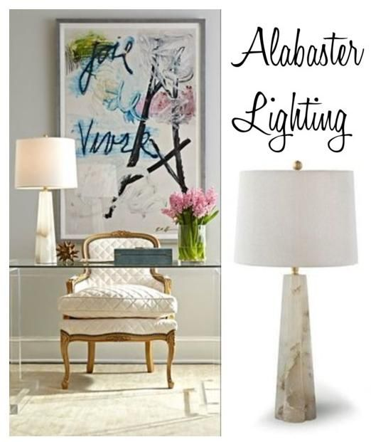 Office Inspiration : Lucite Desk + Gold And Brass Accents + Large Artwork +  Alabaster Quatrefoil Table Lamp + Fresh Flowers