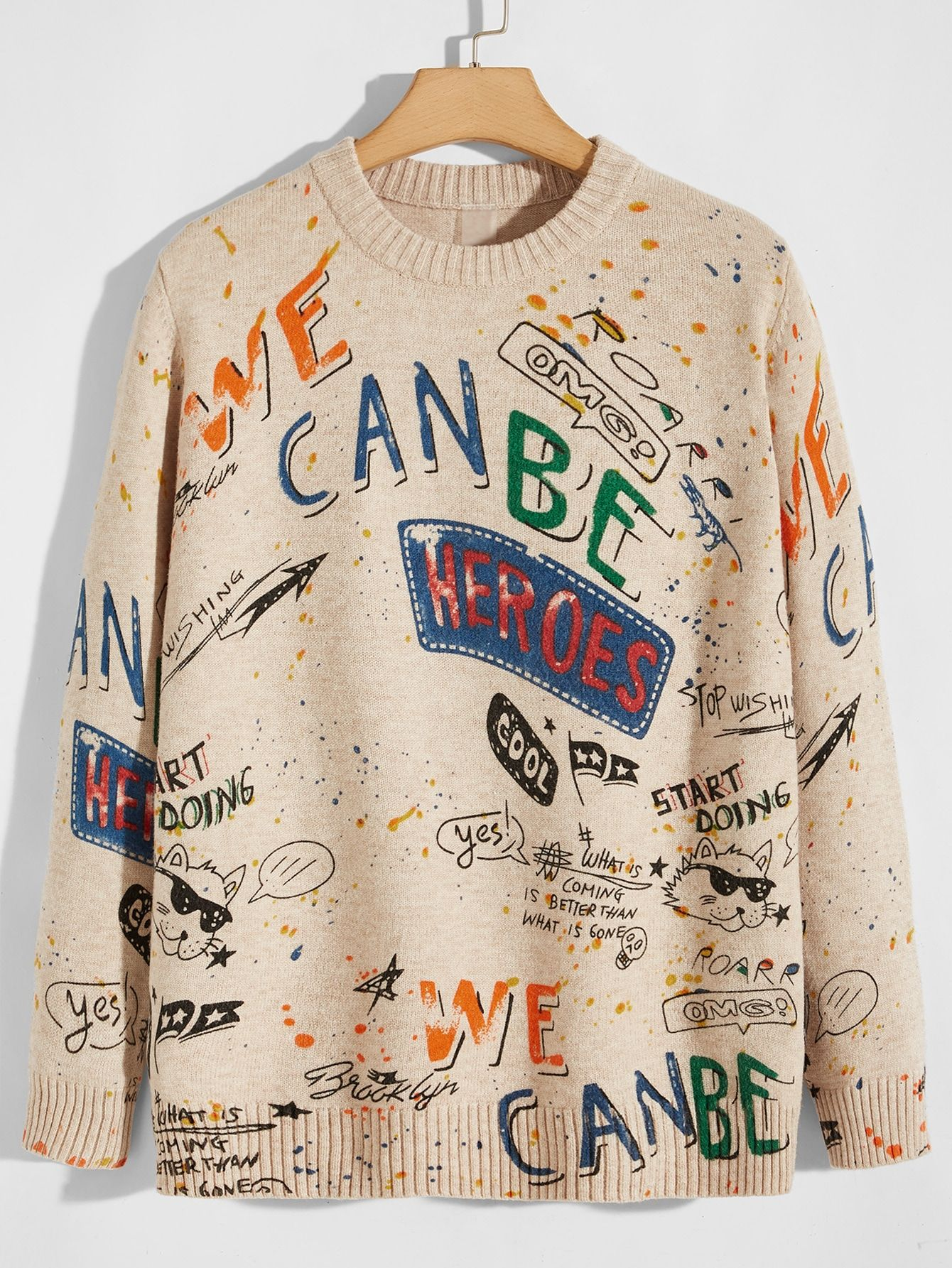 Men Letter Graphic Sweater Shein Usa Sweaters Graphic Sweaters Fashion Branding [ 1785 x 1340 Pixel ]