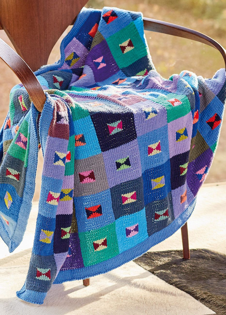 Free Knitting Pattern for Hourglass Blanket - Patchwork-inspired ...