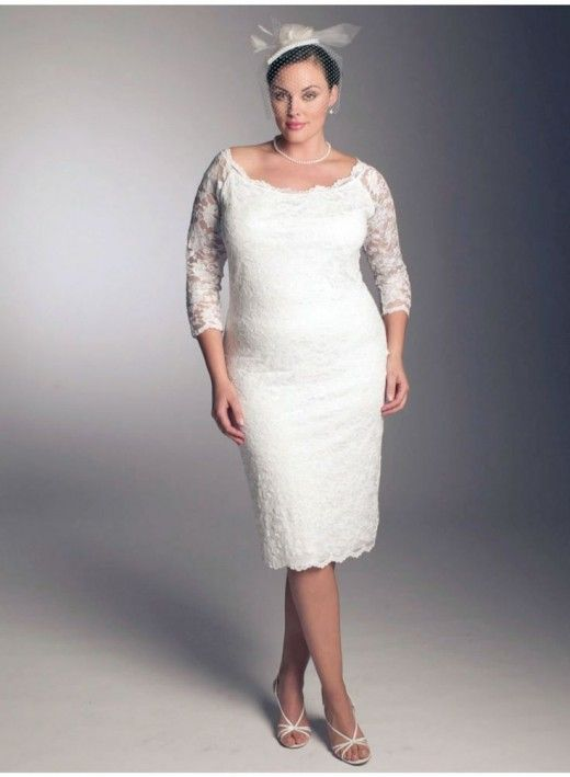 white knee length short casual three quarter lace sleeve boat neck ...