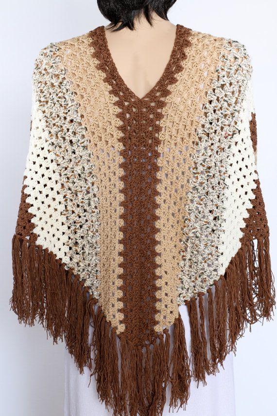 Poncho cape pattern Shawl pattern Striped poncho Crochet Sleeved ...