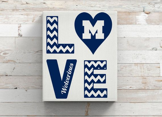University of michigan wolverines football vinyl car decal coffee mug canvas chevron decor college