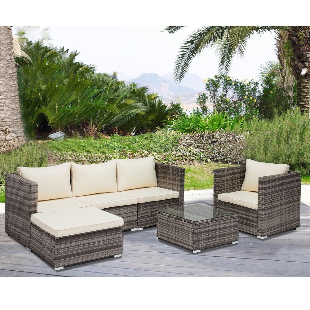 6 Pcs Rattan Furniture Set Sofa Garden Outdoor Patio Pe Wicker Cushioned With Images Rattan Furniture Set Outdoor Furniture Sets