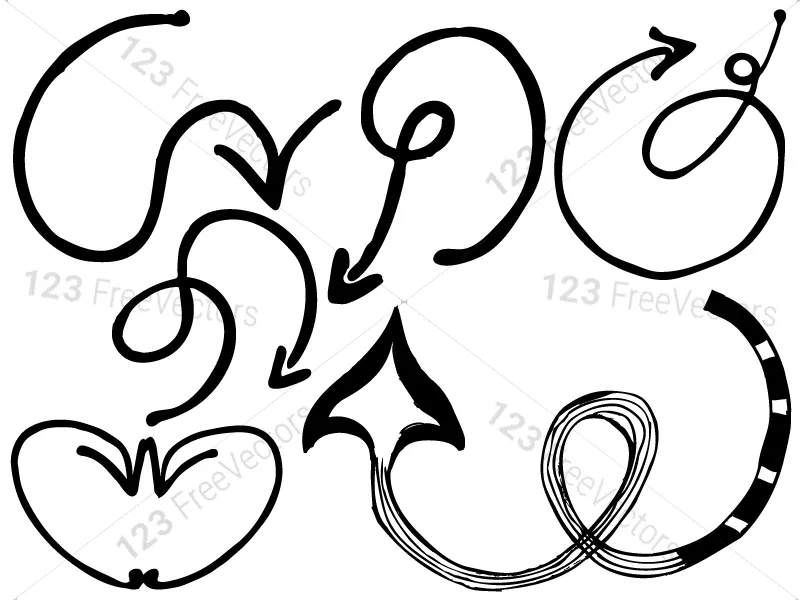 Sketchy Doodle Arrows Vector and Brush Pack01
