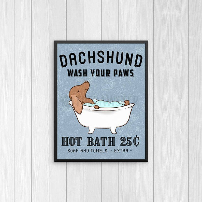 Dachshund Bathroom Wall Decor Wiener Dog Funny Bathroom Art Etsy Funny Bathroom Art Bathroom Wall Decor Vintage Style Wall Decor