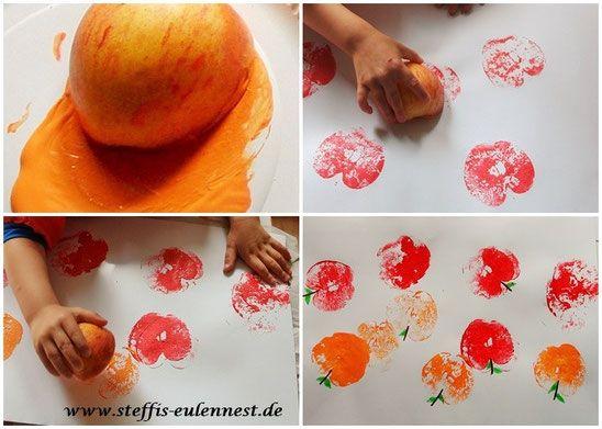 Basteln mit kinder apfel herbst apfeldruck farbe for Apfel basteln herbst