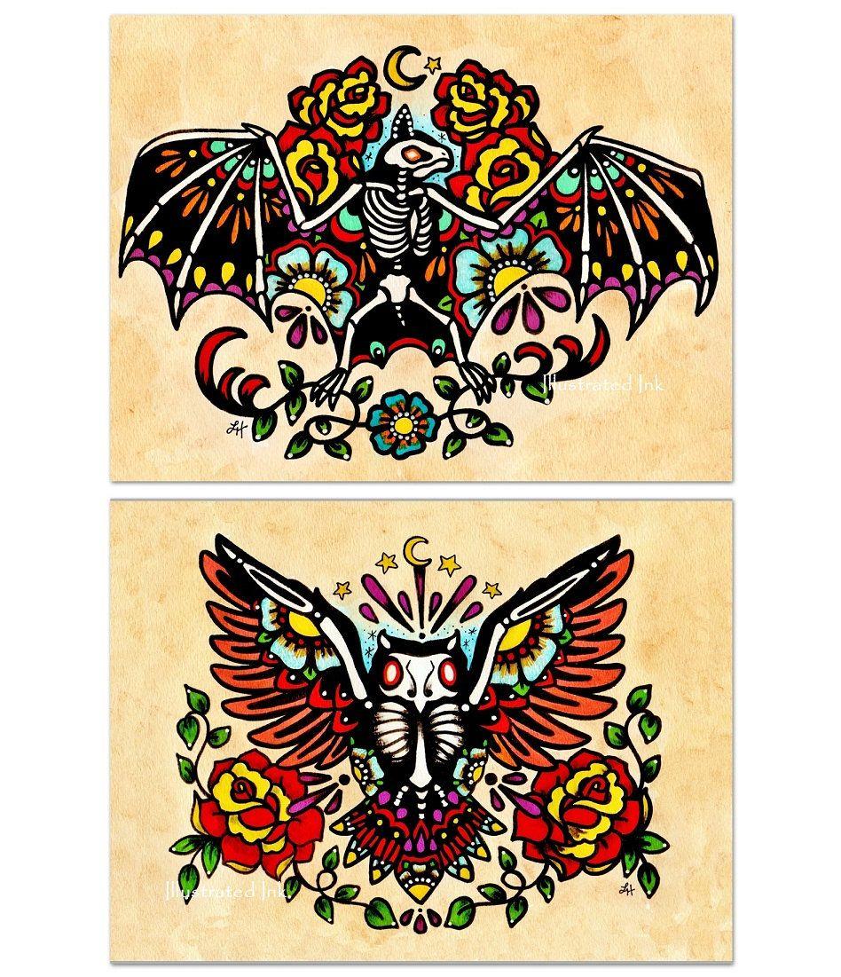 Day of the Dead BAT & OWL Old School Tattoo Flash Art Set 5 x 7 ...