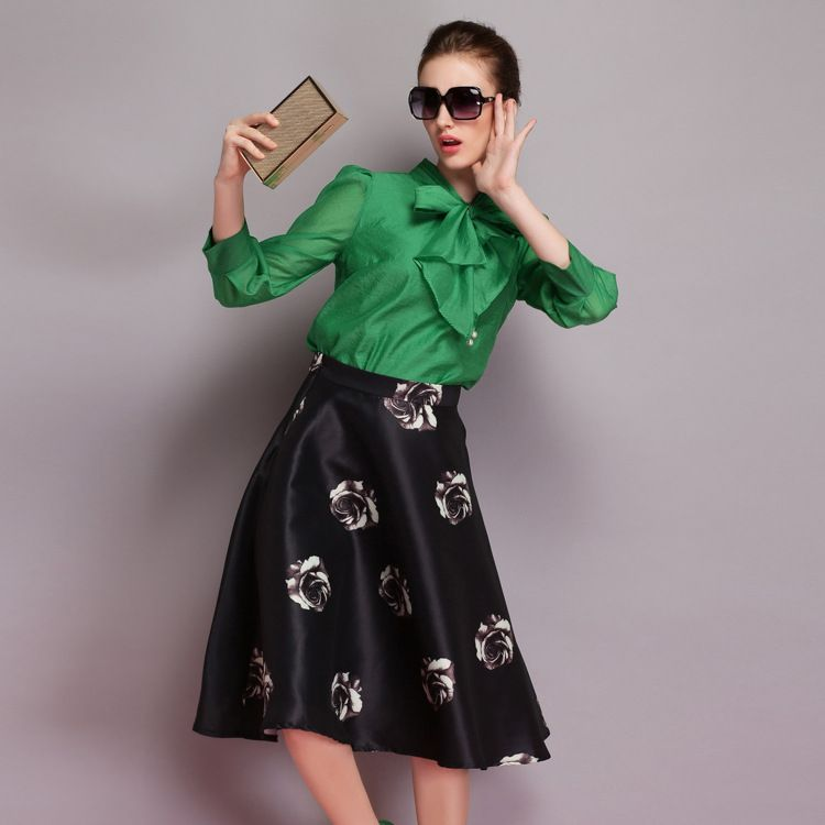 Find More Skirts Information about New arrival 2015 women fashion spring / summer vintage Print Midi skirt plus size casual long ladies skirts # 294 S XL,High Quality Skirts from Mo Li  Fashion Ltd on Aliexpress.com