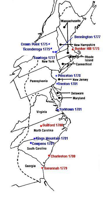 Print Map Revolutionary War Battles Show Revolutionary War - 1860 us map worksheet answers