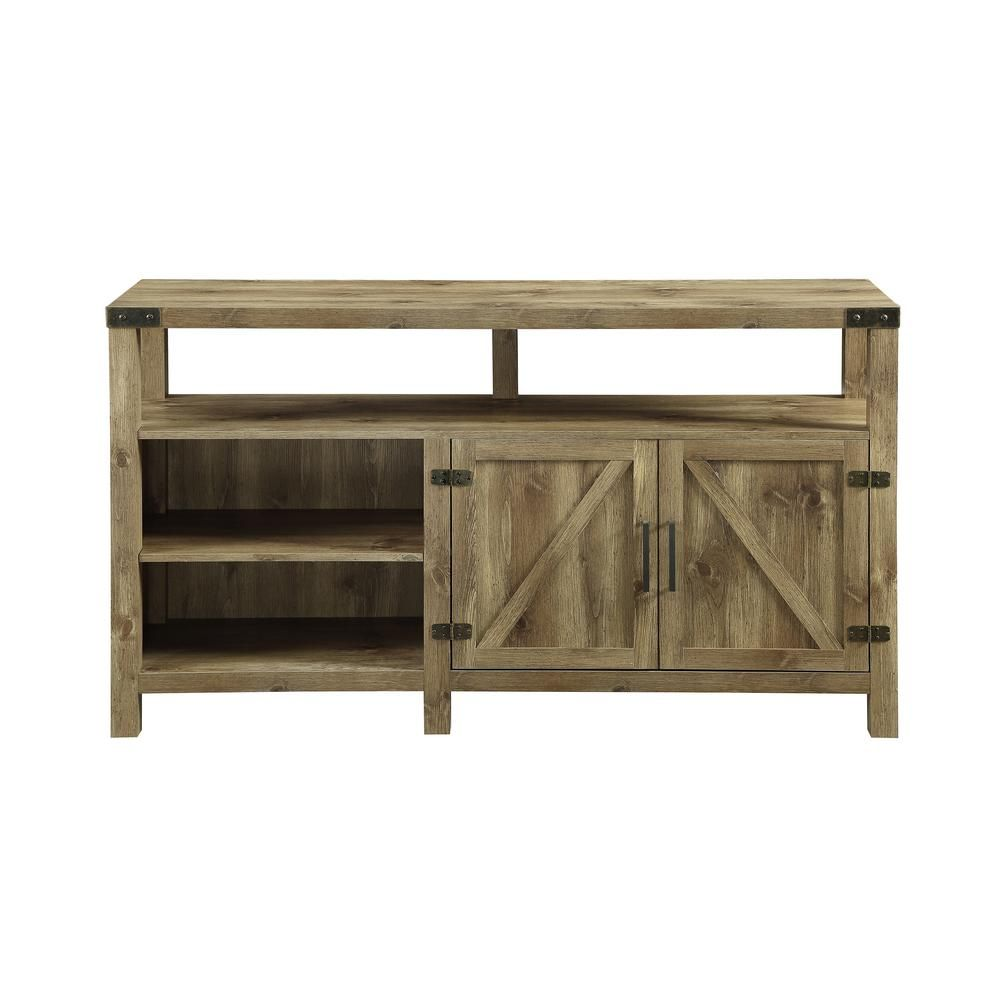 Walker Edison Furniture Company 58 In Barnwood Barndoor Highboy Console