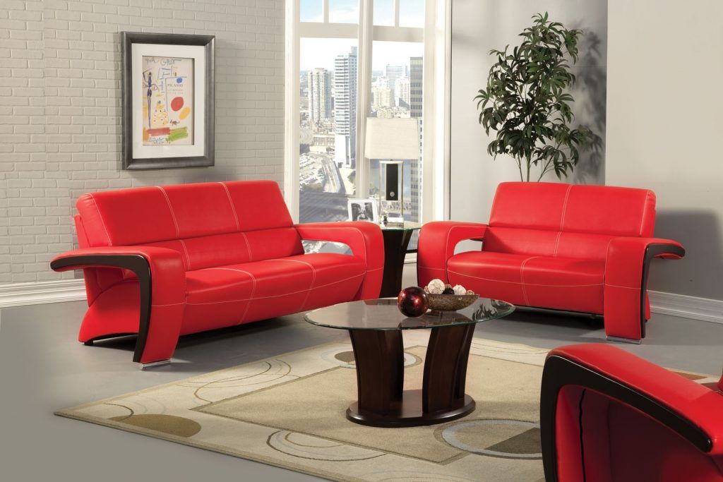 Furniture Living Room Contemporary Red Leather Sofa And Love Seat Combined Dark Wooden Coffee Table Couches
