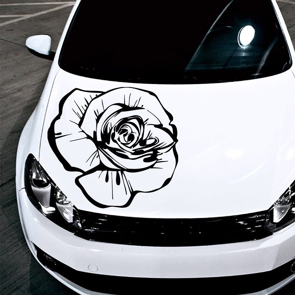 Amazoncom Car Decals Hood Decal Vinyl Sticker Rose Flower - Best automobile graphics and patternsbest stickers on the car hood images on pinterest cars hoods