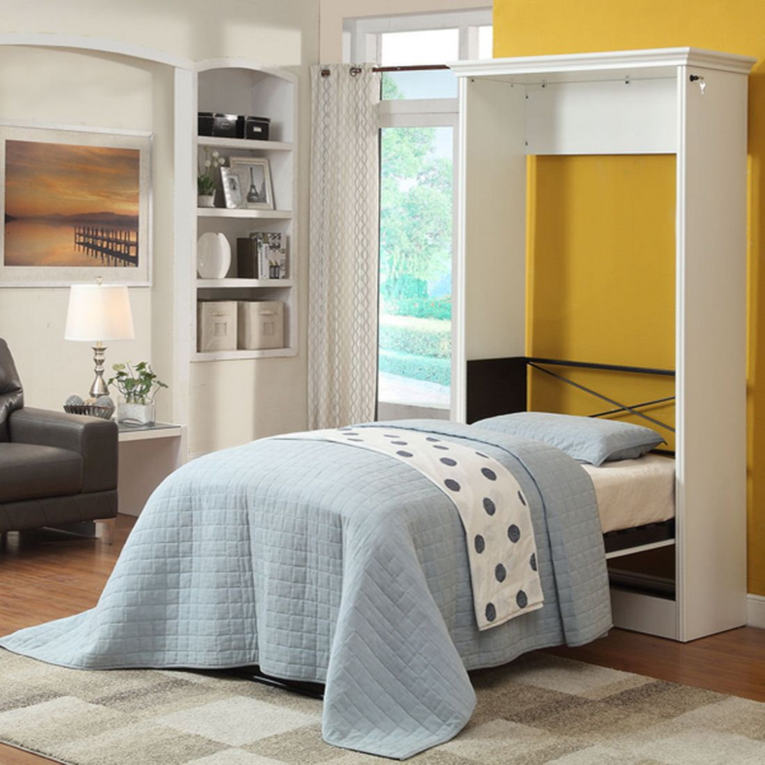 Stella Twin Murphy Bed with Storage in White by