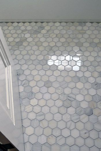 Floor marble hex tile color inspiration home ideas pinterest shower floor showers and Marble hex tile bathroom floor