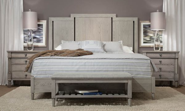 Durham Furniture created this beautiful bedroom by using solid Ash and  staining in a light grey