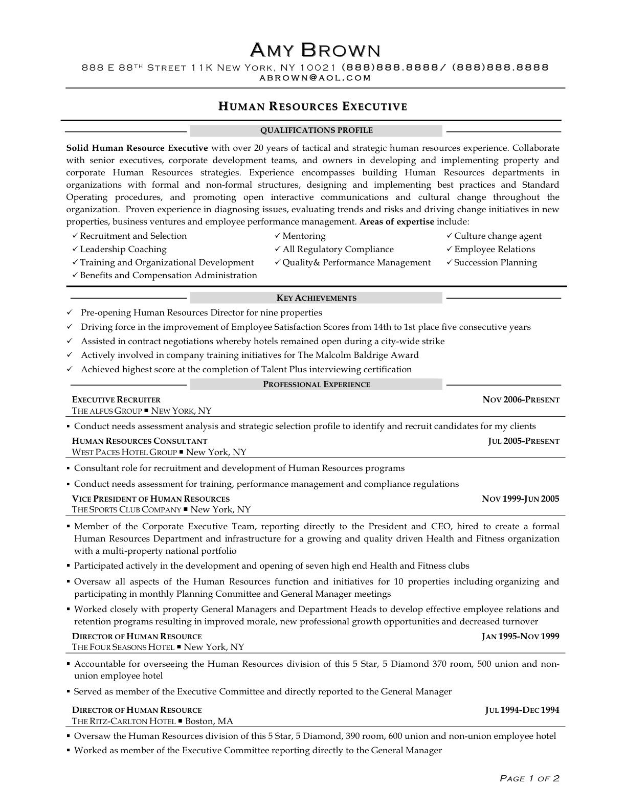 human resource generalist resume - Google Search | LEARNING ...