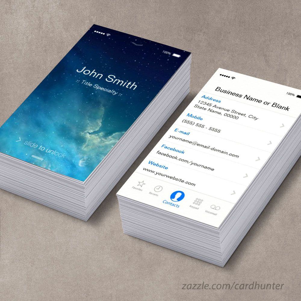 iPhone IOS 7 Style Business Card Template. So Cool !! | Business ...
