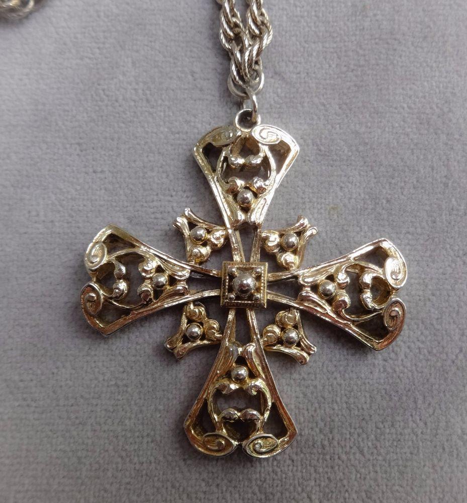 Vtg Lrg 2 3 8 Yellow Gold Tone Maltese Cross Pendant 30 Prince