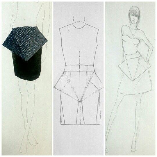 D e n i m  P r o j e c t .  #Idea #Pattern #Draw #StepByStep #Skirt #Denim #FashionStudies   IG : greezydreamers