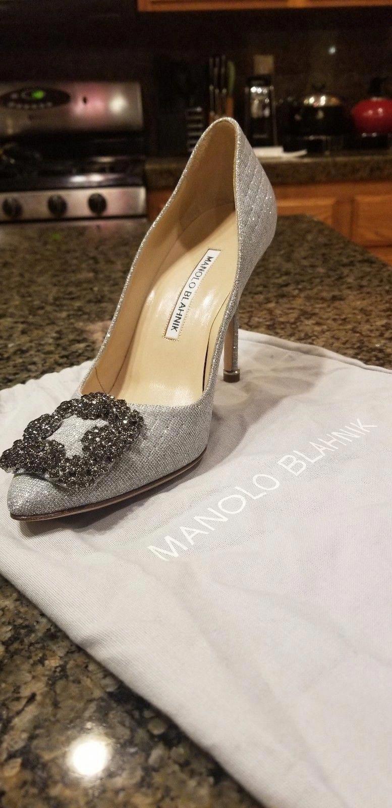 e92d115b0761b MANOLO BLAHNIK BRAND NEW 36.5 Hangisi Silver Notturno Women's Heels Bridal # ManoloBlahnik