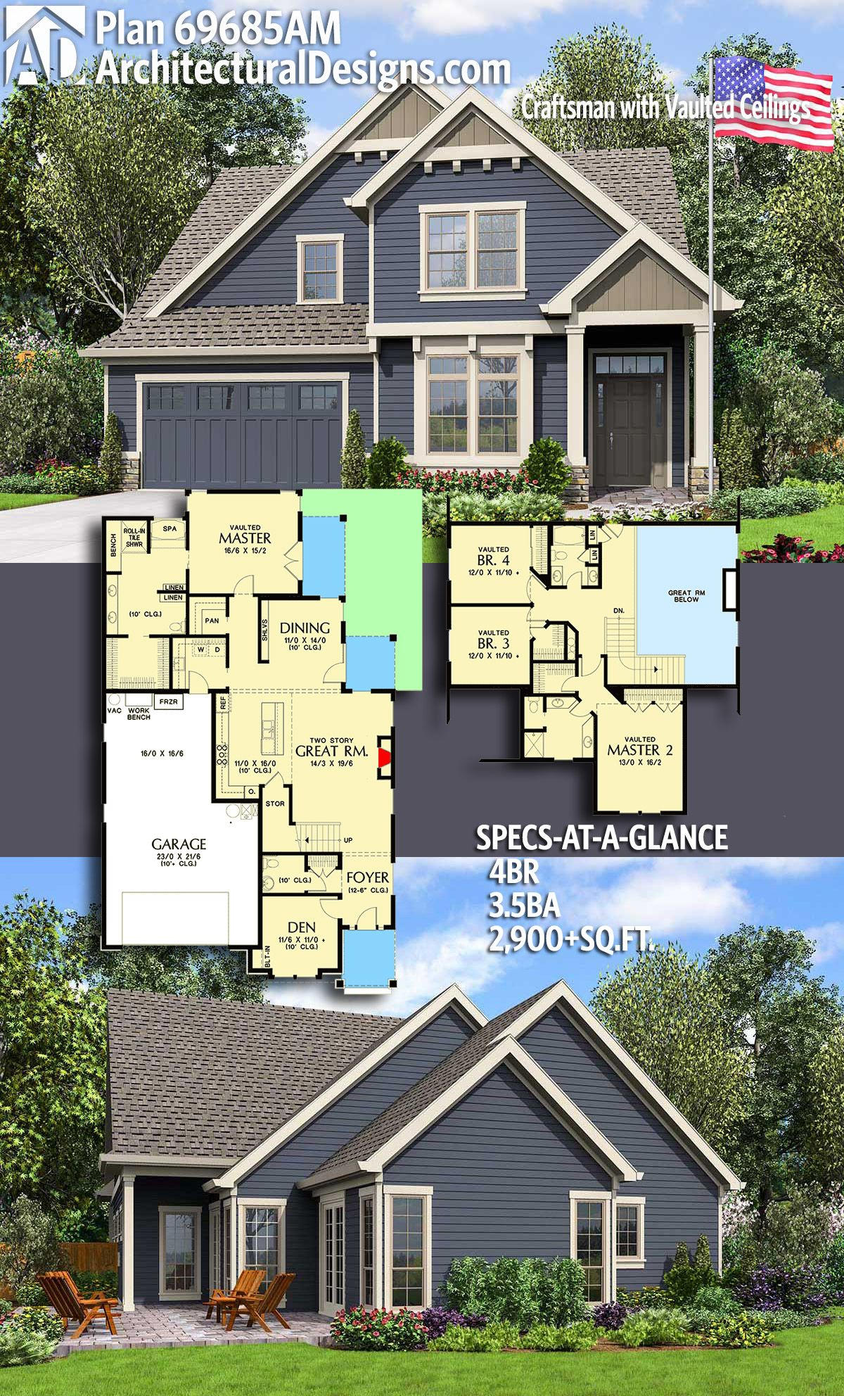 Plan 69685am Craftsman With Vaulted Ceilings Sims House Plans Craftsman Style House Plans Dream House Plans