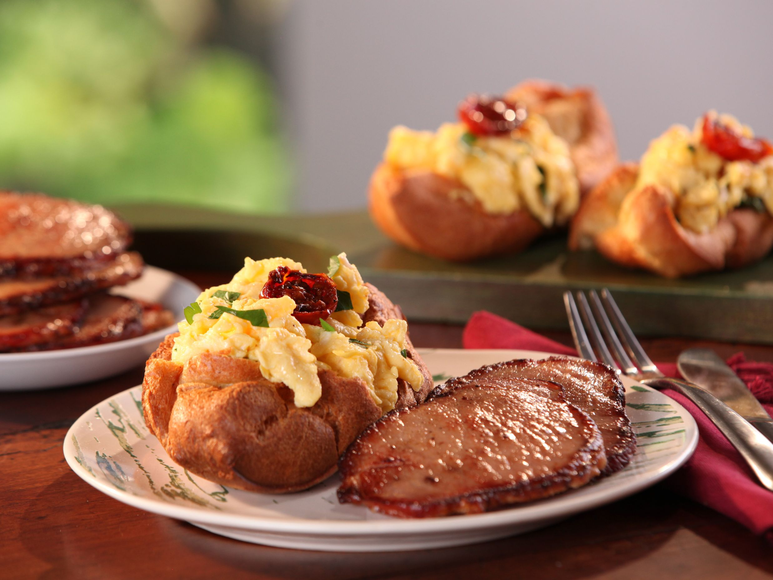 Black pepper popovers filled with vermont cheddar and herb scrambled black pepper popovers filled with vermont cheddar and herb scrambled eggs and maple mustard glazed canadian bacon recipe canadian bacon forumfinder Choice Image