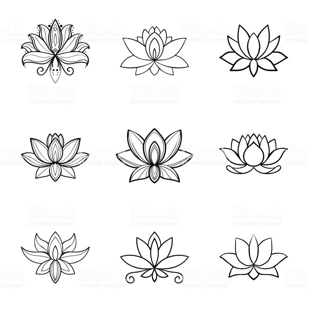 Set Of Lotus Flower Icons Spa Sign Yoga Design In 2020 Flower Icons Small Lotus Tattoo Lotus Tattoo Design