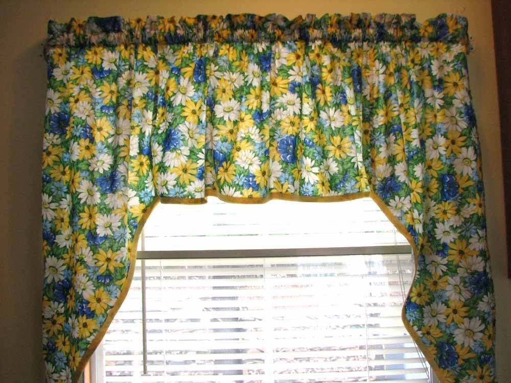 Beautiful Blue And Yellow Kitchen Curtains Plan Kitchen Window Swag Curtain Blue  White And Yellow Daisy Print By Laura Norman