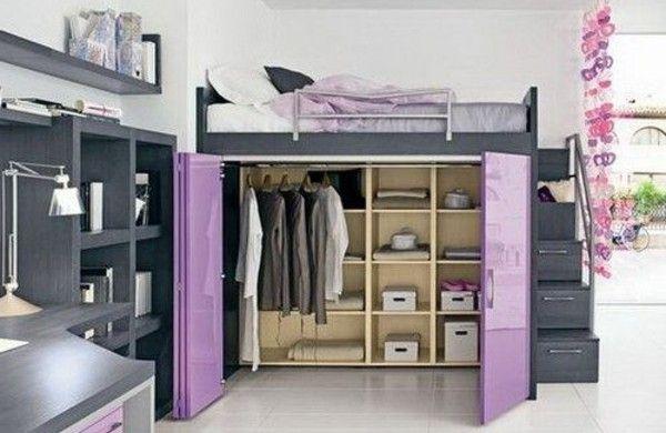 hochbett kleiderschrank darunter lila türen   Möbel   Pinterest