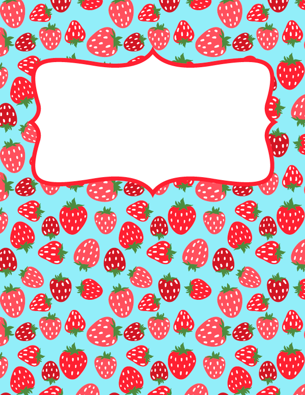 Book Cover Portadas Kawaii : Free printable strawberry binder cover template download