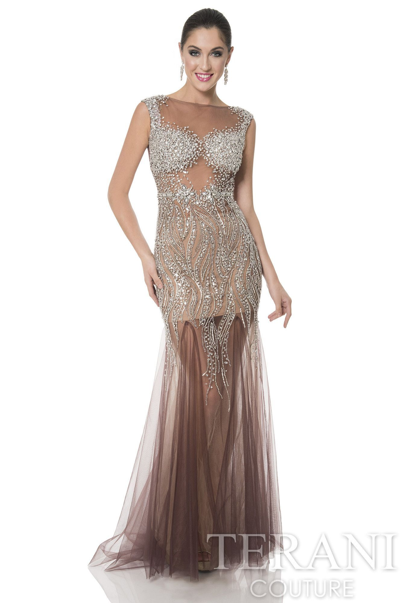 32df81bdac4 Dare to bare in this stunning evening dress from Terani 1611P0227. The  illusion bateau neckline bodice has bejeweled cap sleeves and shines with  dazzling ...