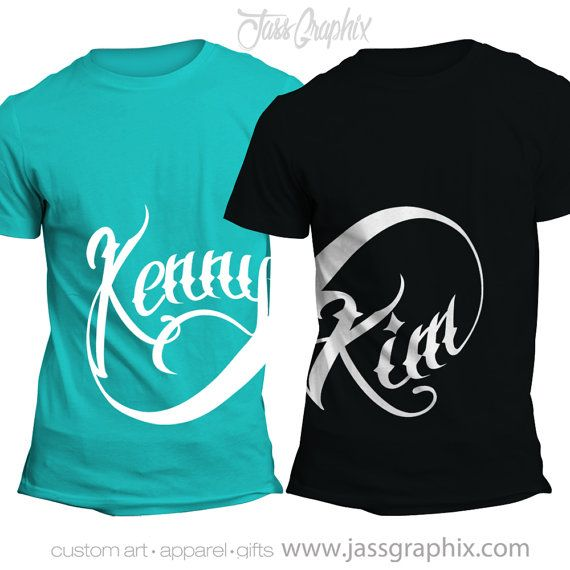 1a752059ea Infinity Shirts Personalized Shirts for couples. Matching set. Perfect for  engagement photos. Makes a great gift for lovebirds. An original