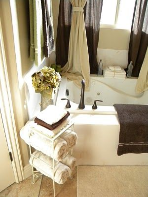 Love The Sheer Curtains Draping Over The Tub This Would Work - Wine rack towel storage for small bathroom ideas