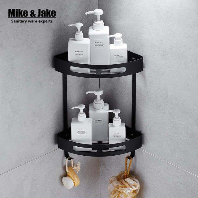 Photo of US $27.59 40% OFF|Stainless steel 304 Black bathroom corner shelf shower room rack for body wash bottle toilet corner table shelf rack holder-in Bathroom Shelves from Home Improvement on AliExpress