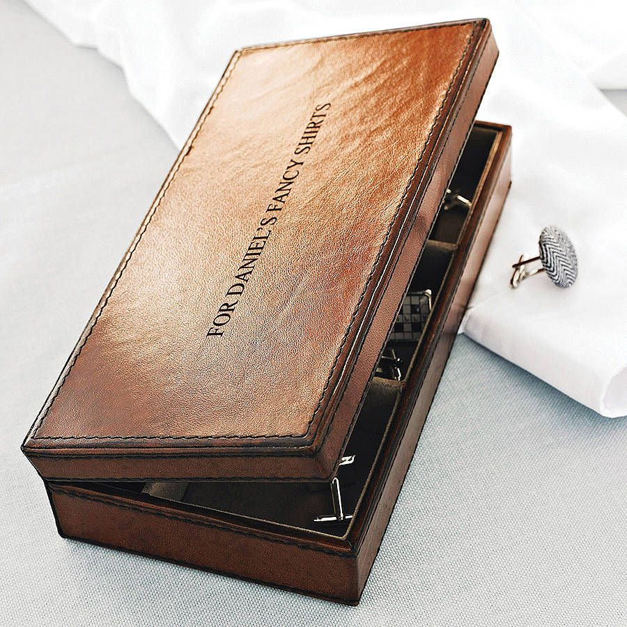 Personalised Leather Cufflink Box Three Colours