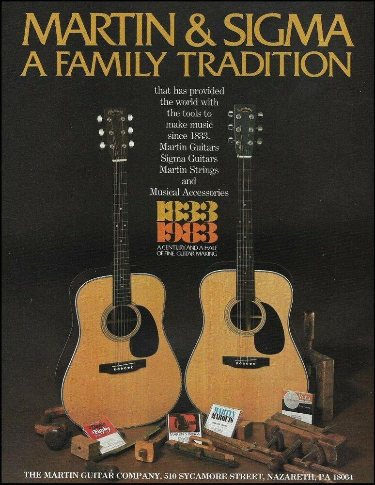 Martin Sigma Acoustic Guitars 150th Anniversary Ad 1983 Advertisement Print Martin In 2020 Martin Guitar Acoustic Guitar Guitar