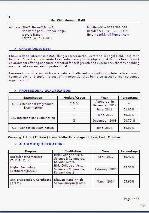 Best Resume Format Sample Excellent Curriculum Vitae  Cv Format