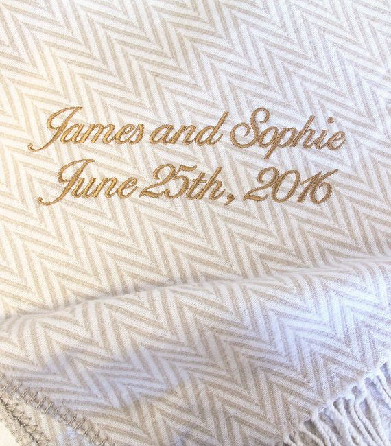 This cosy blanket would make a lovely gift for couples anniversarries or their wedding. For that extra special gift each throw can be personalised with embroidered names, dates, or messages.  These luxury natural blankets are made from very fine cotton mixed with acrylic for the extra warmth and thickness. They have a cashmere feel and are super cosy. The blankets are washable and extra large to fit a double bed. An elegant adornment over a bed; or ideal for freshening up sofas and old…