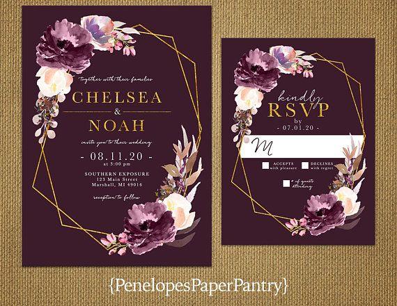 Purple Rose Wedding Invitations: Elegant Purple Floral Geometric Frame Fall Wedding