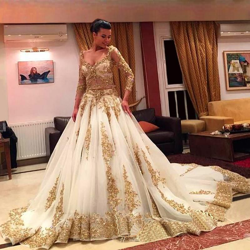 African Traditional 2018 Wedding Dresses Gold Applique Formal Long ...