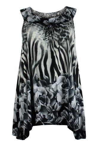 6be3867b6bc Curvylicious Women s Plus Size Animal Floral Print Sleeveless Tunic ...