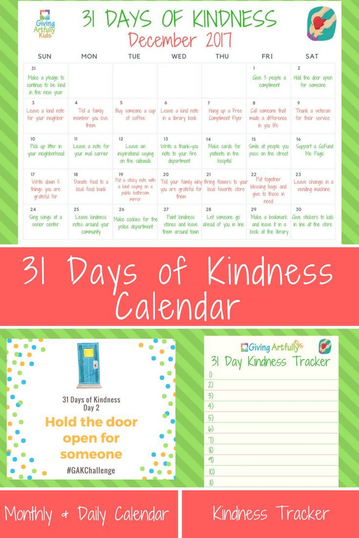 Kids Calendar With Activity Stickers : Kindness acts for kids days of kindness calendar and tracker