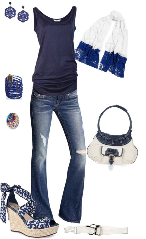 """""""Hues of Blue"""" by jennmarsh ❤ liked on Polyvore"""