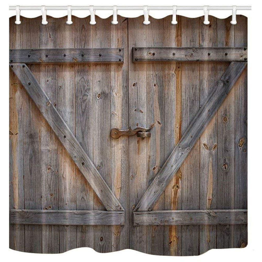 Online Shopping Bedding Furniture Electronics Jewelry Clothing More Rustic Shower Curtains Barn Door Shower Curtain Wooden Barn Doors