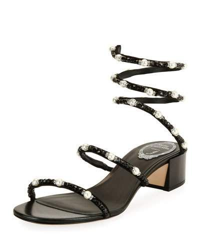 Embellished Leather Sandals - Black Rene Caovilla