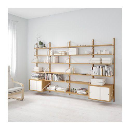 Svalnas Wall Mounted Storage Combination Bamboo White 116 7