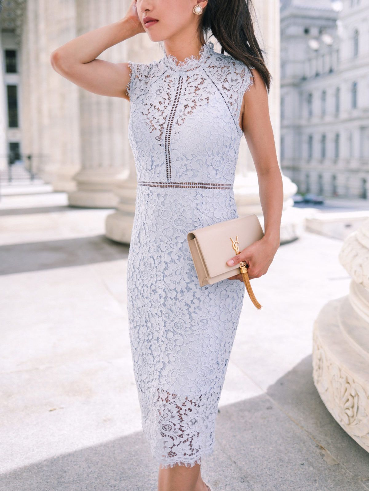Ysl Kate Purse Nordstrom Lace Dress Petites Pursesnordstrom Lace Dress Lace Dress Design Petite Wedding Guest Outfits [ 1597 x 1200 Pixel ]